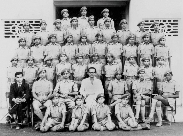 New Delhi: A file photo of Prime Minister Narendra Modi (sitting on the ground at the extreme left) in his NCC uniform. PTI Photo / Twitter (PTI1_28_2015_000041B)